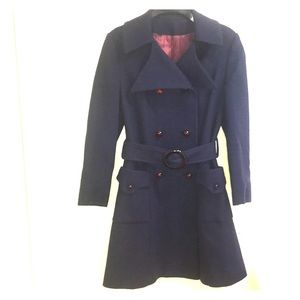 Vintage Wool navy blue belted trench coat